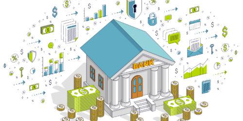 銀行と暗号通貨のイメージ